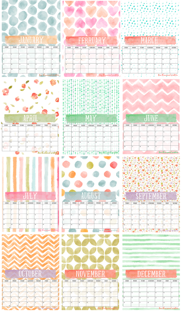 2016 Free Printable Photo Calendar and DIY Display Board   12-month watercolor calendar perfect for your photos   Easily display on one of these boards.